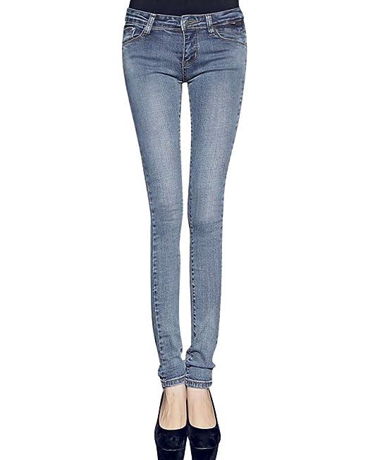 Vintage Vaquero Pantalones Jeans Mujer Ajustados Leggins Slim Fit Azul 31
