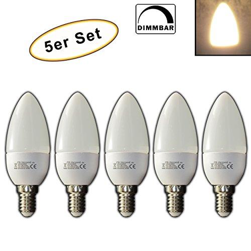 Bougie LED E14à intensité variable 3W blanc chaud forme de bougie–Lot de–5