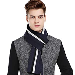 CACUSS Men's Cashmere Feel Winter Wool Scarf Soft Warm Striped Knitted Scarves with Gift Box