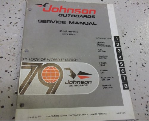 1979 Johnson Outboards 55 HP MODELS 55E79 55EL79 Service Shop Repair Manual (Hp Manual)