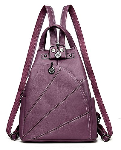 Womens Leather School IHAYNER backpack Bags Vintage Backpack Shoulder Purple Casual Purse 1nd6SdPxq