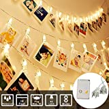 String Lights Photo Clip Lights String Plug in Powered with Female Plug (MAX 10 )For Photo Memos Card Clip Holder in Bedroom for Graduation Birthday Wedding Christmas Party (16Feet 40Led, Warm White)