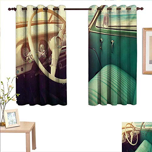 """Coastal Blackout Draperies for Bedroom Interior of a Classic Car Parked Seaside and The Cloudy Sky Digital Print 55""""x 72"""",Suitable for Bedroom Living Room Study, etc."""