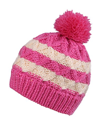 (Arctic Paw Kids'Super Chunky Striped Knit Beanie, Rose/ Cream with Fleece Lined)