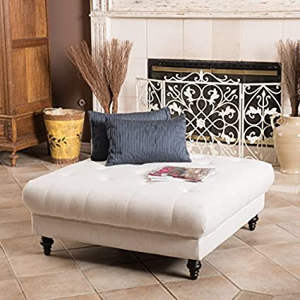 Great Deal Furniture Parisian Fabric Ottoman Footstool Coffee Table