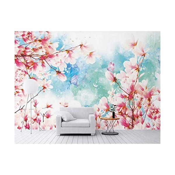 LIWALLPAPER-Carta-Da-Parati-3D-Fotomurali-Fiore-Rosa-Farfalla-Pianta-Camera-da-Letto-Decorazione-da-Muro-XXL-Poster-Design-Carta-per-pareti-200cmx140cm