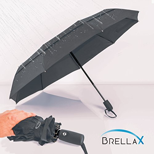 Costume Quest Free Online (Compact Travel Umbrella by Brellax - Lightweight, Windproof, Reinforced Double Canopy, Auto Open / Close Folding, Ergonomic Handle, Carrying Case Included - Dark Gray)