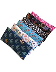 Peacegoods Aromatherapy Eye Pillow - Bundle of (6) - 4.5 x 9 - Organic Lavender Chamomile Flax Cotton - Removable Cover Washable - teal blue green rainbow bird pink black