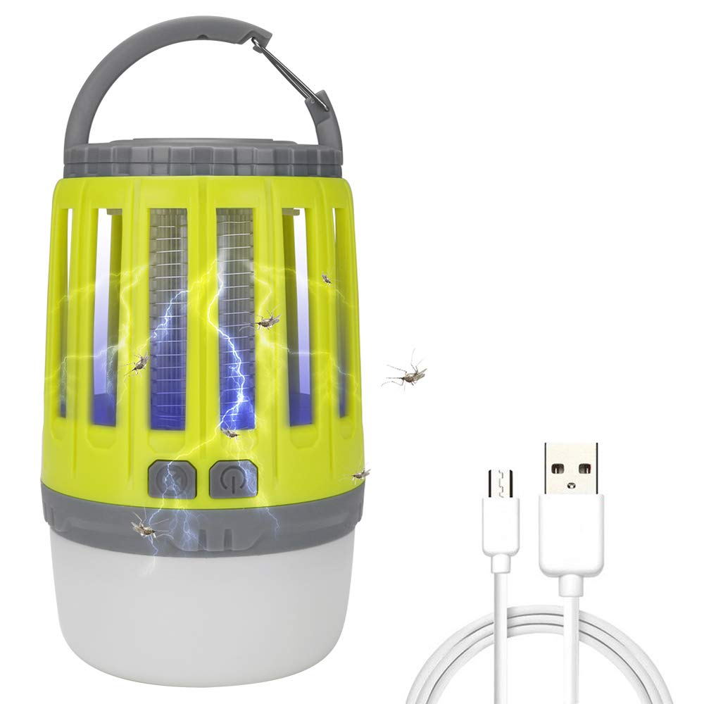 Festnight USB Ricaricabile Mosquito Killing Lampada Portatile Tent Light Built-in 1800mAh Li-Ion Bug Bug Zapper Flying Insect Killer Repellente 2 dimmerabile Lanterna da Campeggio Night Light