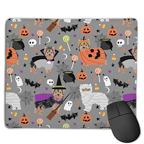 Yorkshire Terrier Halloween Costumes Cute Dog Fabric Fall Autumn Grey Computers Thick Keyboard Non-Slip Rubber Base Mouse pad Mat 7 X 8.6 inch -
