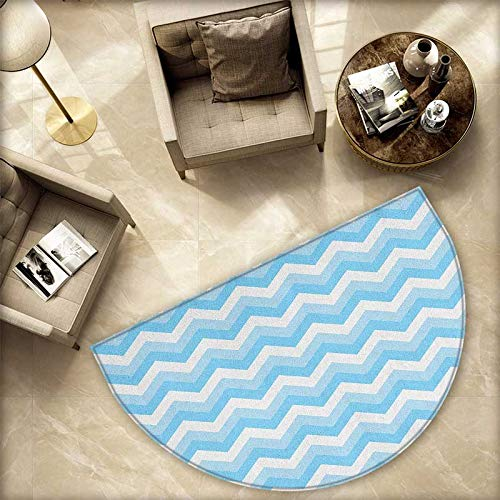 Chevron Bath mats for Floors Zigzag Pattern Sea Aqua Colors Classic Antique Artwork Illustration Bathroom Mats Half MoonH 70.8'' xD 106.3'' Baby Blue Pale Blue White by homehot (Image #4)