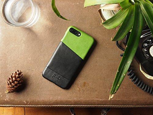 alto Handmade Premium Italian Leather Wallet Case for Apple iPhone 8 Plus / iPhone 7 Plus Metro (Lemon/Raven) by Alto (Image #1)
