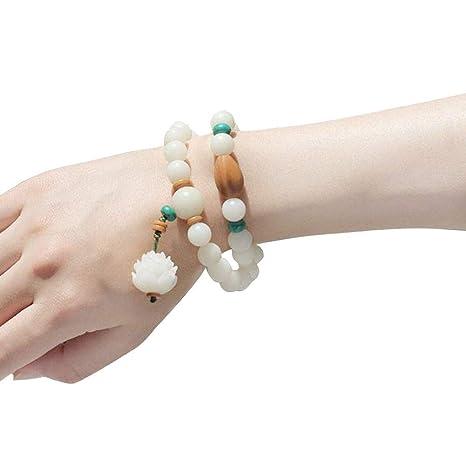 Bodhi Root Lotus - Pulsera de cuentas (10 mm), color blanco ...