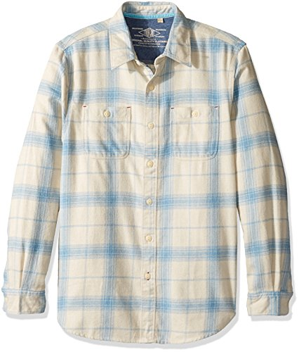 True Grit Men's Roadtrip Plaid Long Sleeve Two Pocket Heather Flannel Shirt, Natural/Blue, L Road Flannel