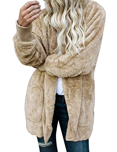 ACKKIA Women's Casual Draped Open Front Oversized Pockets Hooded Coat Cardigan Apricot Size XX-Large (US 20-22) by ACKKIA (Image #2)