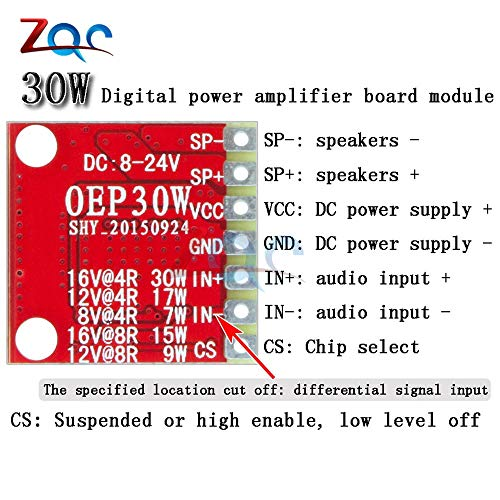 30W OEP30W Mono Digital  D Class Amplifier Board Module DC 8-24V