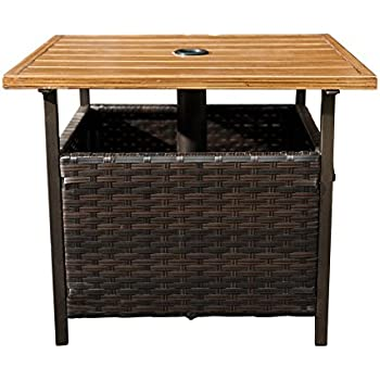 Amazoncom Wicker Umbrella Side Table Stand Patio Lawn Garden