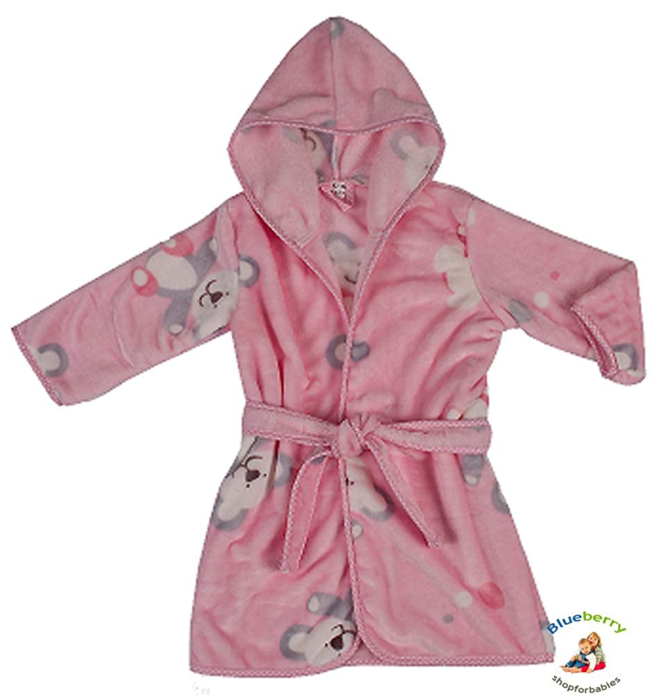BlueberryShop ACCAPPATOIO Luxurious in Velours con Cappuccio, soffice e delicato, 1-7 anni (1-7Yrs) (1-2 Yrs) Blueberry Shop for Babies