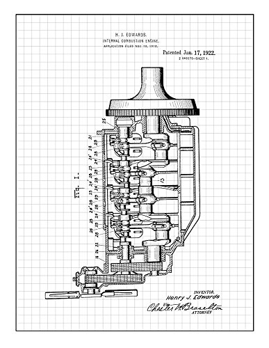 Amazon Com Internal Combustion Engine Patent Print Art Poster Blue