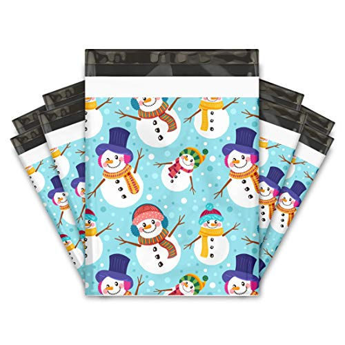 10x13 (100) Snowman Designer Poly Mailers Shipping Envelopes Premium Printed Bags
