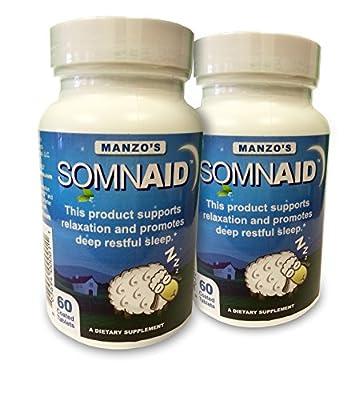 Somnaid Natural Sleep Aid (2 X 60 Tablets) 2 Pack Melatonin / 5-Hydroxytryptophan / L-Theanine