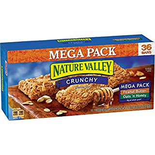 Nature Valley Granola Bars, Crunchy, Mega Pack of Peanut Butter and Oats 'n Honey, 26.82 Ounce (Pack of 1)