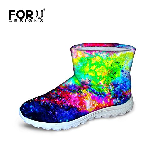 FOR U DESIGNS Awesome Galaxy Women Warm Winter Flat Snow Boots Waterproof Green 2 QxPHC1g