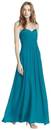 Sheer Long Chiffon Bridesmaid Dress with Sweetheart Neckline Style F14867