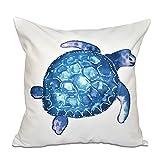 E by design O5PAN465WH1-20 20 x 20'' Sea Turtle Animal Print White Outdoor Pillow