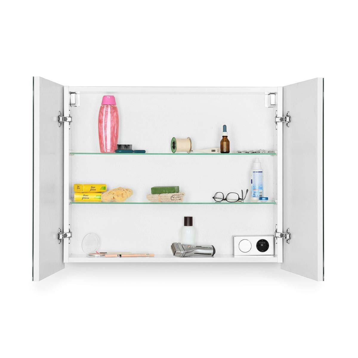 Beleuchtung Softclose Funktion Steckdose Badezimmer Spiegel Flurspiegel Galdem Spiegelschrank EDGE80 Badezimmerschrank 80cm 2 t/ürig mit LED