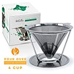 Pour Over Coffee Filter - Stainless Steel Drip Cone Dripper with Stand. Paperless, Reusable, Dual Filter Micro-Mesh Technology made by Kitchables