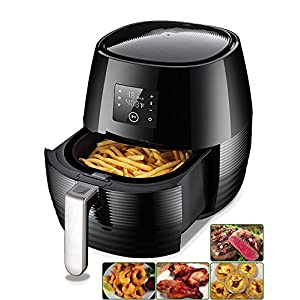 Air Fryer,Electric Air Fryers by Tiluxury,Healthy Food 80% Less Fat,Air French Fries,Hot Air Frying Technology Cooker,Digital Touch Screen and Non-Stick Basket,1400W 3.4QT (Black)