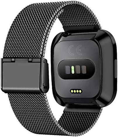 SOONORY Fitbit Versa 2/Versa バンドに対応 金属製 ステンレススチール 交換用 スポーツブレスレット ストラップ リストバンド アクセサリー Versa スマートウォッチ用 S