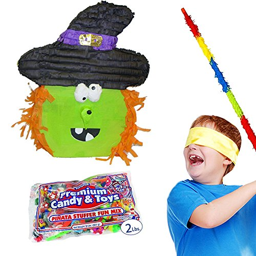 Pinatas Halloween Witch Pinata Kit Including Pinata, Filler, Buster Stick and Bandana,  2 lb.