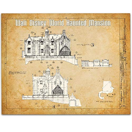 Walt Disney World Haunted Mansion Patent - 11x14 Unframed Patent Print - Great Gift to Disney Fans by Personalized Signs by Lone Star Art