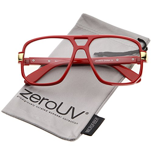 zeroUV - Classic Flat Top Metal Accented Temples Clear Lens Square Aviator Glasses 56mm (Red-Gold / - Gold Square Glasses Frame