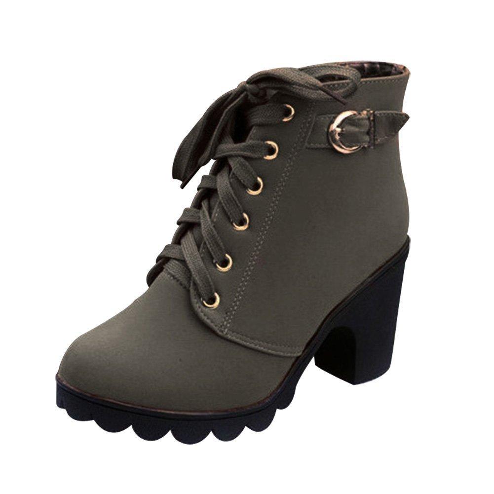 Juleya Mujeres Botas Casual Botas Cuadrado Tac/ón Plataformas Cuero Muslo Bomba Botas Zapatos