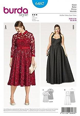 Burda Damen Plus Größe Schnittmuster 6487 Kleider: Amazon.de: Küche ...