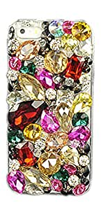 iPhone 6 Plus Case, Geometric Lucite Colorized Diamante PC Hard Back Case Shiny Glitter iPhone Case Cover Protective Shell for Phone 6 Plus Multicolor