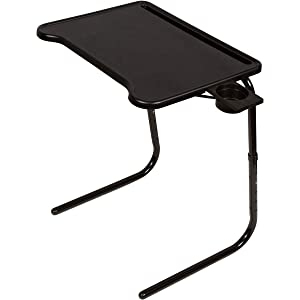 Table-Mate Ultra Folding TV Tray with Device Holder (Black)