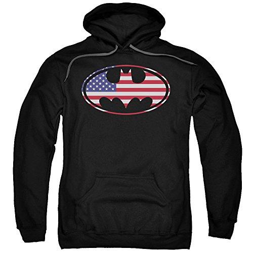 UPC 852688206454, Batman DC Comics American Flag Oval Adult Pull-Over Hoodie