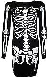 For G and PL Women's Halloween Costume Skeleton Funny Long Sleeve Midi Dresses White Skeleton S