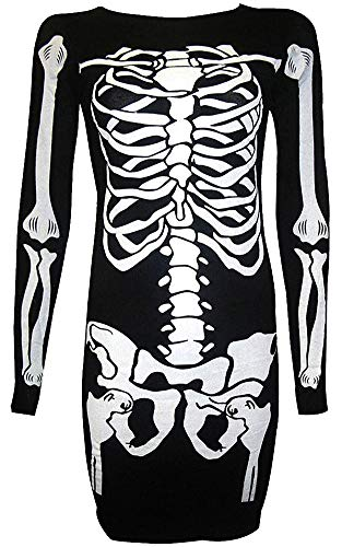 (For G and PL Women's Halloween Costume Skeleton Funny Long Sleeve Midi Dresses White Skeleton)