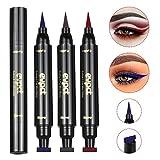 3Pcs Winged Eyeliner Stamp,Vogue Effects Cat Eye Look Eyeliner Stencil Waterproof Long Lasting, Smudgeproof Eye Liner Liquid Pen,Vamp Stamper Eyeliner Tool (Blue,Brown,Red)