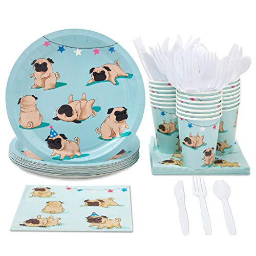 Disposable Dinnerware Set - Serves 24 - Dog Party Supplies for Kids Birthdays, Pugs Design, Includes Plastic Knives, Spoons, Forks, Paper Plates, Napkins, Cups ()