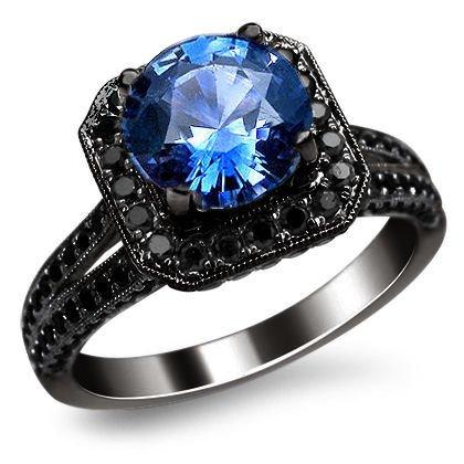 2 45ct Round Blue Sapphire Black Diamond Engagement Ring 14K