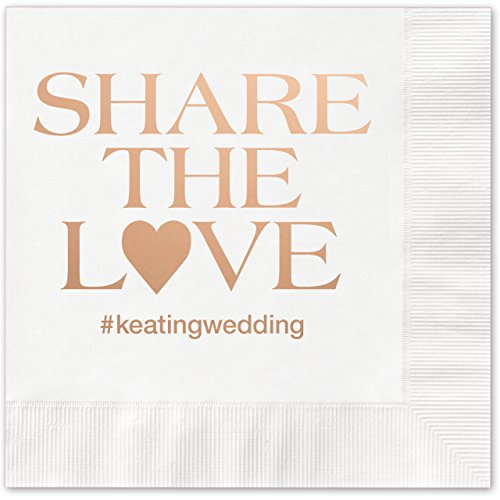 Share The Love Hashtag Personalized Beverage Cocktail Napkins   100 Custom Printed White Paper Napkins With Choice Of Foil