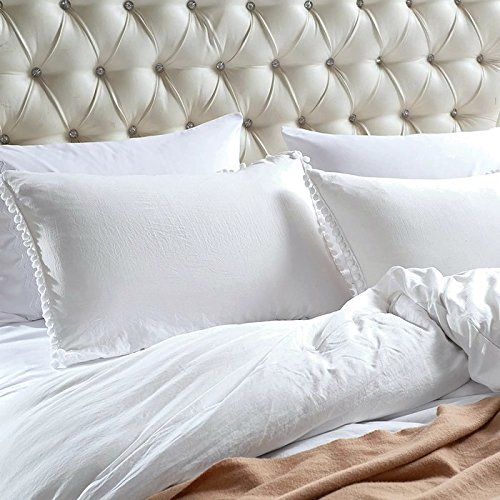 Moon Daughter 3 Piece Comfort Jacquard Pillow Cases Duvet Cover Quilt Cover Bedding Set White (Not Upholstered Canvas)