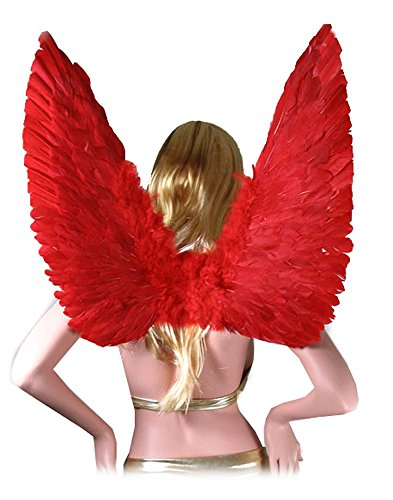SACASUSA (TM) Large Red Feather Angel Wings for women, men and teens
