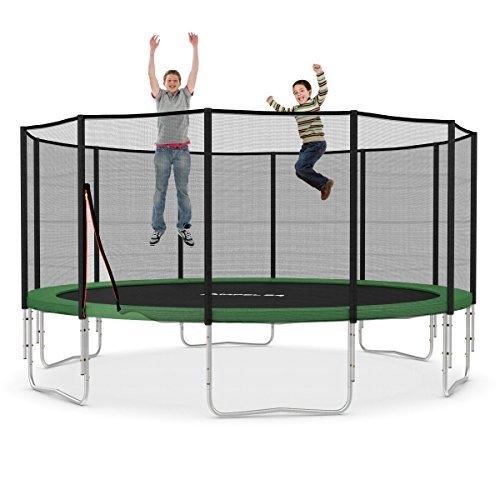 Ampel 24 XXL Trampolin Ø 490 cm grün | Gartentrampolin Komplettset mit verstärktem Netz | belastbar bis 180 kg
